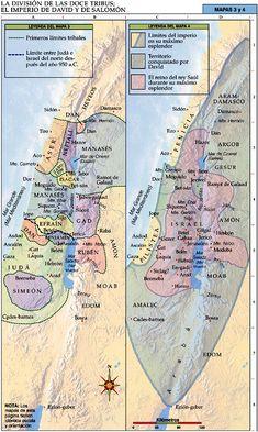 Mapas Bíblicos: La División de las Doce Tribus; El Imperio de David y de Salomón