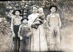 Bertha (Adams) Mullins and children, Harts Creek, Logan County, West Virginia, 1920s.