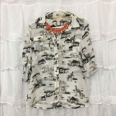 Safari Top Why go to the Safari when you can wear it everywhere! This Banana Republic Safari top has only been worn once. 100% polyester Banana Republic Tops Blouses