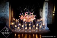 Fireplace Decor of a Spring Tulip Design at Dresser Mansion - The French Bouquet - Jesse Reich Photography Floating Candles Wedding, White Candles, Tea Light Candles, Tea Lights, Candles In Fireplace, Unused Fireplace, Fireplace Ideas, Fireplace Pictures, Cozy Fireplace