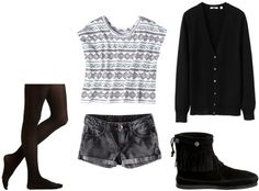 Outfit idea: Target geometric tee shirt with jean shorts, tights, boots, and a cardigan