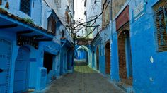 The blue-painted street of Chefchaouen, Morocco.