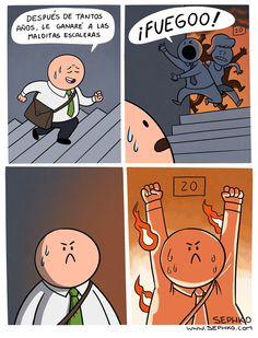 Le estaba ganando a las escaleras, hasta que un incendio ocurrió ¿Qué hará?