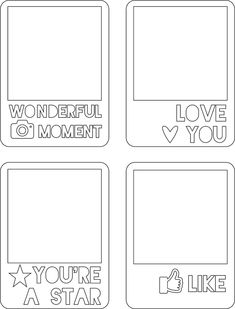 an .svg file for 4 cards from scrappy sticky inky mess - wonderful moment - Love you - You're a star - like these are designed for your Scan n Cut machine...