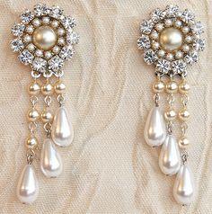 Bridal Chandelier Earrings, Bridal Jewelry, Wedding Earrings, Drop Vintage Pearl Earrings, Rhinestone, Victorian, Silver Swarovski Crystal. $79.00, via Etsy.