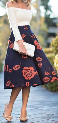 Floral midi skirt + off the shoulder.