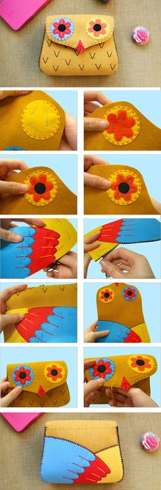 Felt Purse Tutorial. Owl Gift Bag. Sewing Tutorial in Pictures.  http://www.handmadiya.com/2015/11/felt-owl-coin-purse-tutorial.html