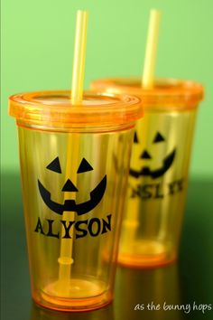 {Tutorial} Personalized Jack-O'-Lantern Tumblers created with my Silhouette & Vinyl - As The Bunny Hops