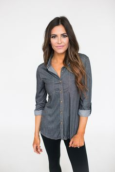 Dark Chambray Button Down - Dottie Couture Boutique