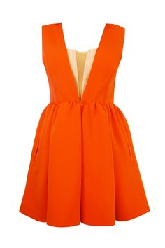 NEW FLAME Orange Dress - Playful dress by Three Floor, featuring a full skirt with scalloped waist, supported bust with mesh inserts and gold zip closure to the back. Main: 93% Polyester 7% Elastane Mesh: 100% Polyamide Cool Hand Wash