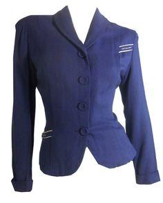 Deep Blue Nipped Waist Suit Jacket w/ Rhinestones circa 1940s - Dorothea's Closet Vintage