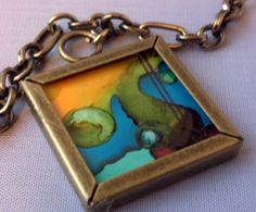 Alcohol Ink Necklace by InkcentricArt on Etsy, $12.95