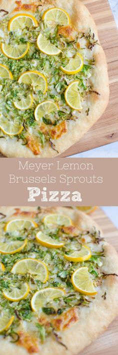 Meyer Lemon Brussels Sprouts Pizza - such a fun twist on pizza night! Fresh mozzarella, pecorino romanco, brussels spouts, and thinly sliced meyer lemon!