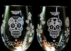 2 Stemless Wine Glasses Etched Glass Calavera by BradGoodellToo, $52.00