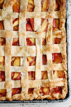 Peach Slab Pie From Brooklyn Supper. Perfect time of the year for a peach dessert! Pie Dessert, Eat Dessert First, Dessert Recipes, Easter Recipes, Just Desserts, Delicious Desserts, Yummy Food, Dessert Healthy, Tart Recipes