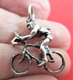 Bicycle Sterling Silver Charm Bicycle Riding Bracelet Charm