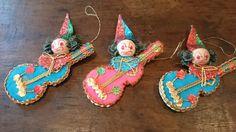 Vintage Spun Cotton Christmas Ornaments/ Christmas Clowns/ Musical Instrument Ornaments