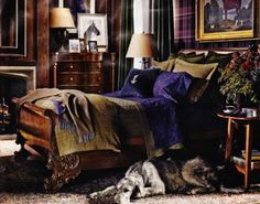 "Love this ""Scottish influenced"" bedroom, courtesy of Ralph Lauren Home. And note the wolfhound lounging on the floor. Love the guy..."