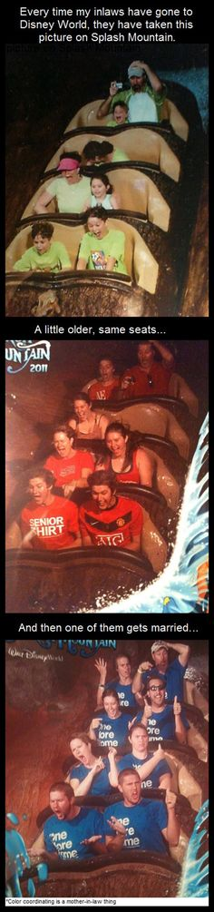A family that takes yearly pictures on Disney's Splash Mountain. Such a cute idea.