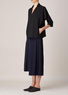 Y's by Yohji Yamamoto Half Pleated Skirt (Navy)