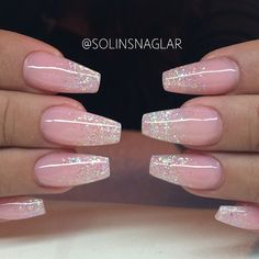 Uploaded by Pea. Find images and videos about pink, nails and glitter on We Heart It - the app to get lost in what you love. Fancy Nails, Love Nails, My Nails, Hair And Nails, Fabulous Nails, Gorgeous Nails, Pretty Nails, Prom Nails, Wedding Nails