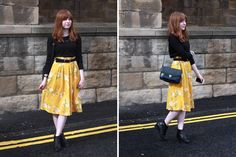ootd, warehouse floral midi skirt, topshop archy ankle boots