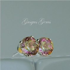 Mystic Topaz Stud Earrings 6mm Round 2ctw Sterling by Gusgusgems, $62.00