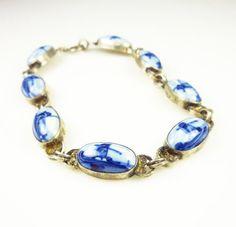 Vintage Bracelet Sterling Blue Delft Dutch by zephyrvintage, $29.00