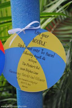 Oodles of Noodles...Colorful Swim Parties invitation