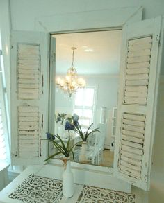 Mirror shutter shabby chic furniture by backporchco on Etsy, $235.00