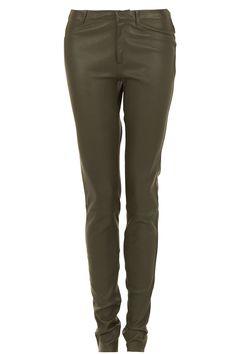 Leren 5-pocket broek Cory | olijfgroen, 4 andere kleuren, €499,-| DNA | Little Soho