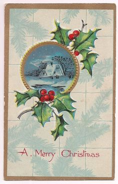 Antique Merry Christmas Holiday Greetings 1910's by VintagePackRat
