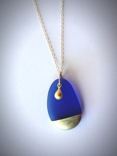 Beachglass necklace seaglass Gold Tipped Sea Glass by JewelryByMaeBee on Etsy https://www.etsy.com/listing/218764889/beachglass-necklace-seaglass-gold-tipped