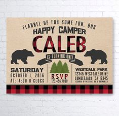Lumberjack Plaid Buffalo Check Camping Beard Little man Invitations First Birthday Boy Happy Camper Bear Axe Wild Outdoors Party Printables