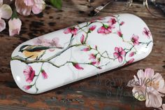 Hard glasses case with a magnolian floral motif and a titmouse, Romantic spring eyeglasses case, floral eyewear holder, bird spectacle case.
