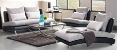 Shop Renton Contemporary Gray Black Vinyl Polyester Living Room Set with great price, The Classy Home Furniture has the best selection of to choose from Contemporary Bedroom Furniture, Home Furniture, Grey And White, Gray, Black, Elegant Living Room, Living Room Sets, White Fabrics, Modern Design