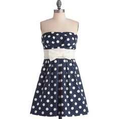 ModCloth Nautical Mid-length Strapless A-line Among My Piers Dress ($42) ❤ liked on Polyvore