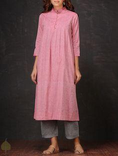 Pink Pleated Mangalgiri Cotton Kurta by Jaypore Salwar Designs, Kurta Designs Women, Kurti Neck Designs, Blouse Designs, Pakistani Dresses, Indian Dresses, Indian Outfits, Indian Attire, Indian Wear