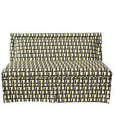 Peter Som X The Inside Armless Settee In Yellow Weave - ELLEDecor.com. Different fabric