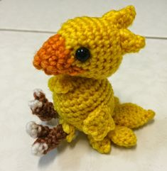 Ravelry: Small Chocobo Final Fantasy pattern by Joey Kuan Crochet Animal Amigurumi, Crochet Monsters, Crochet Birds, Cute Crochet, Amigurumi Patterns, Crochet Toys, Crochet Patterns, Crochet Things, Crochet Animals