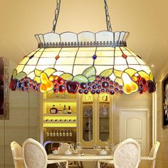 BYB 4 Lights Tiffany Style Stained Glass Hanging Pendant Ceiling Lamp Chandelier