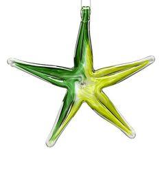 6'' Green & Lime Glass Starfish Ornament