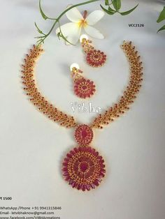 Indian Jewelry Earrings, Indian Wedding Jewelry, Ruby Jewelry, Rose Gold Jewelry, Gold Jewellery, Ruby Necklace Designs, Gold Ruby Necklace, Gold Chain Design, Bridal Jewelry Sets
