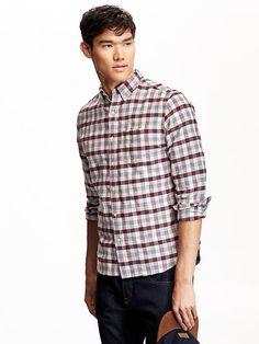 Men's Slim-Fit Oxford Plaid Shirt