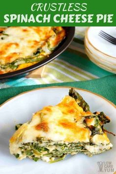 crustless spinach cheese pie is a simple dish that's perfect for those just starting out on a low carb diet. It can be baked in a pie pan or square dish. Veggie Keto, Vegetarian Keto, Veggie Recipes, Diet Recipes, Cooking Recipes, Healthy Recipes, Vegetarian Italian, Paleo, Smoothie Recipes