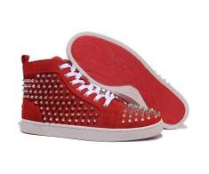 b17c5f9a04 2012 Best Cheap Christian Louboutin Louis Silver Spikes High Top Nubuck  Leather Mens Sneakers Red CODE
