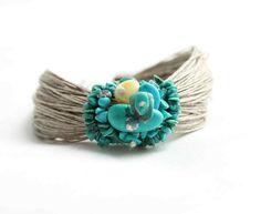 Natural Turquoise Linen Fiber Bracelet Mint White by DreamsFactory, $40.00