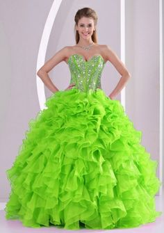 f140a136b3 Best Seller Spring Green Sweetheart Ruffles and Beading Discount 2014 Sweet  16 Dresses