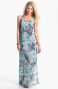 Dee Elle Keyhole Back Print Chiffon Maxi Dress (Juniors) available at Nordstrom