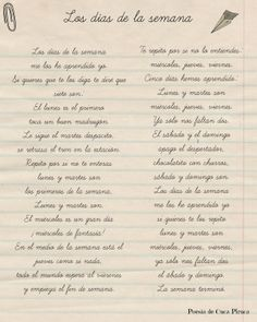 Cuca Piruca: Los días de la semana Poesias ppersonalizadas